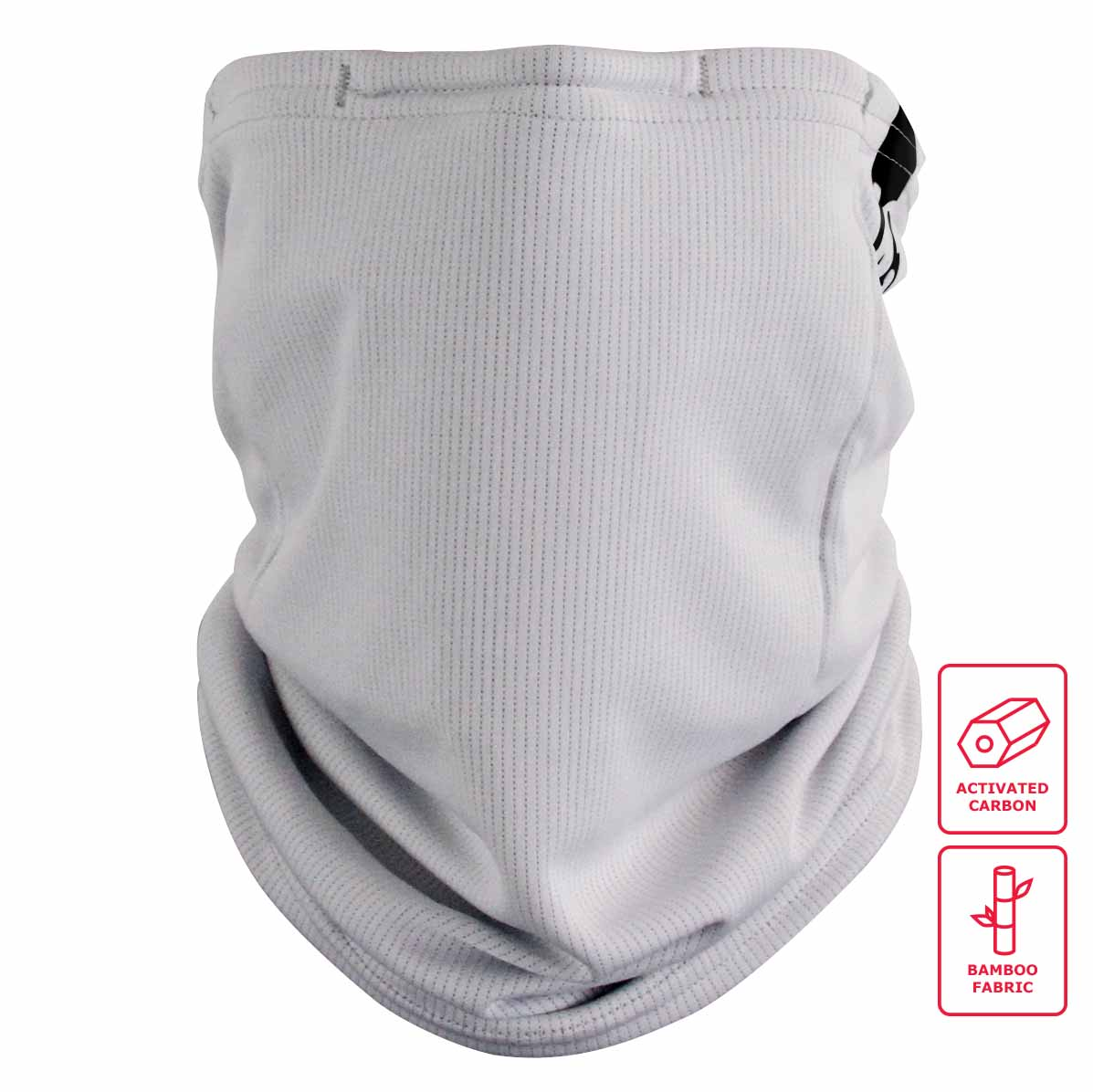 Reusable gaiter mask -Grey - Bamboo Charcoal Hybrid