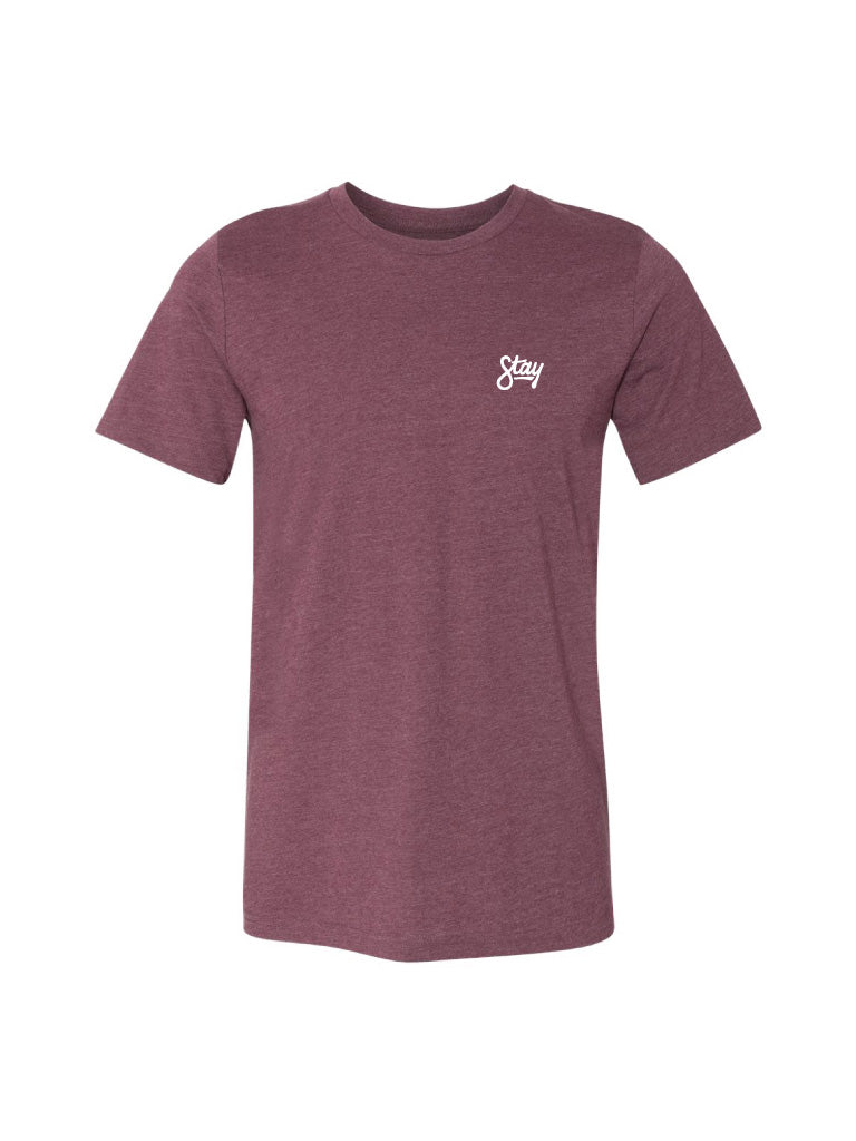 CURSIVE TEE - HEATHER MAROON