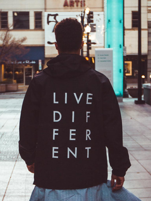 LIVE DIFFERENT ANORAK WINDBREAKER - BLACK