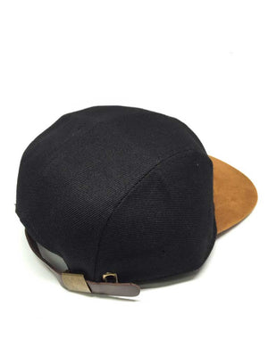 LEATHER 5 PANEL HAT - BLACK