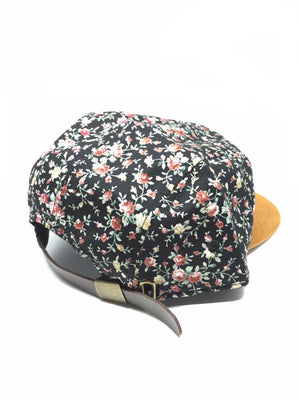LEATHER 5 PANEL HAT - FLORAL TAN