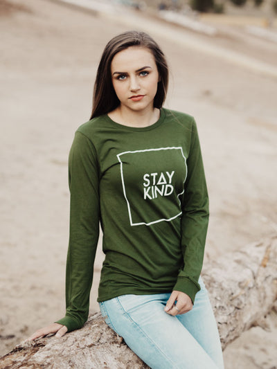 STAY KIND LONG SLEEVE - OLIVE (MENS/UNISEX)