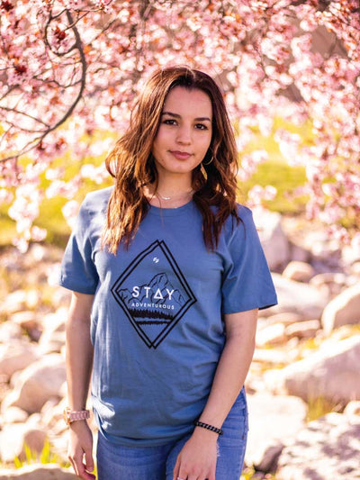 Stay Adventurous Tee - Steel Blue