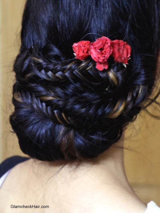 Hairstyle with Saree - Braided Bun