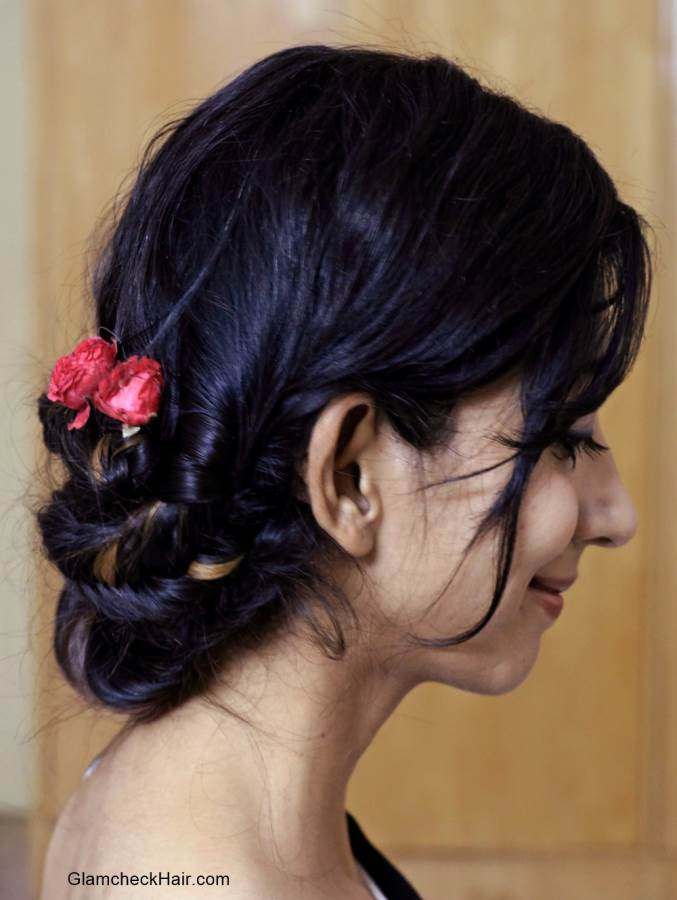 Hairstyle with Saree - Fishtail Braid Bun