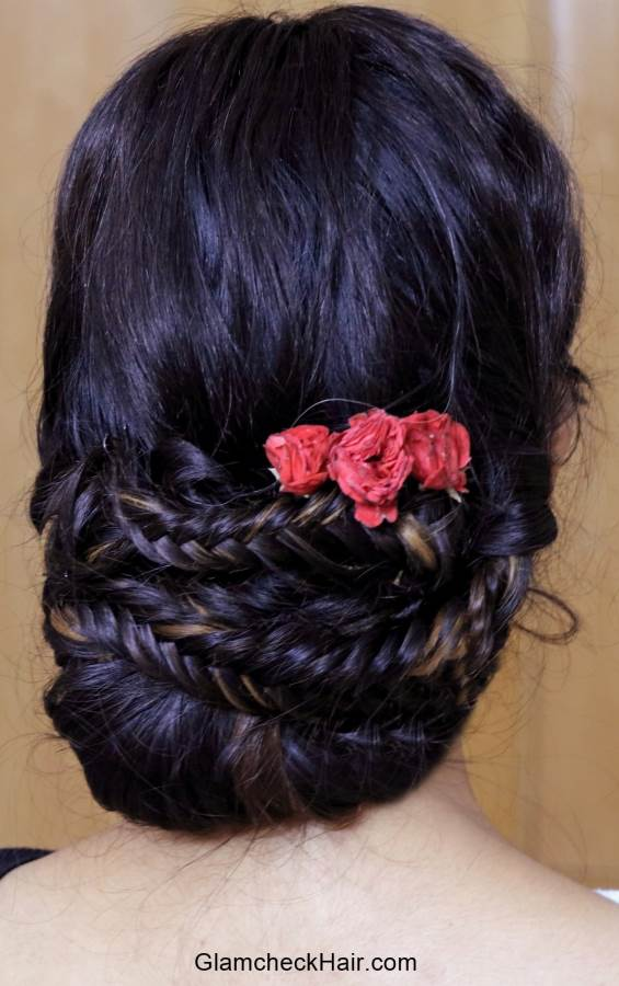 Hairstyle with Saree - Fishtail Braided Bun