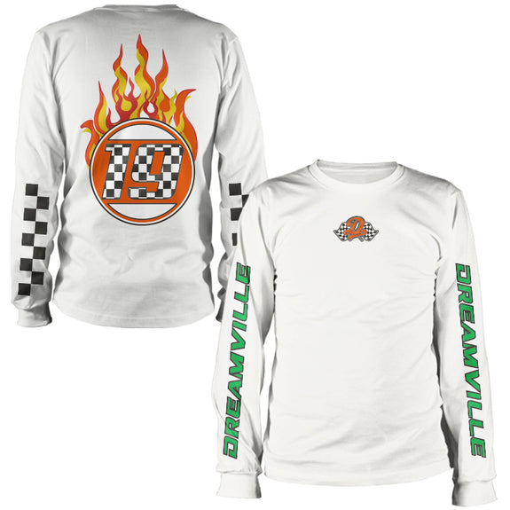 Racing Dreamville Flame Long Sleeve Tee - White