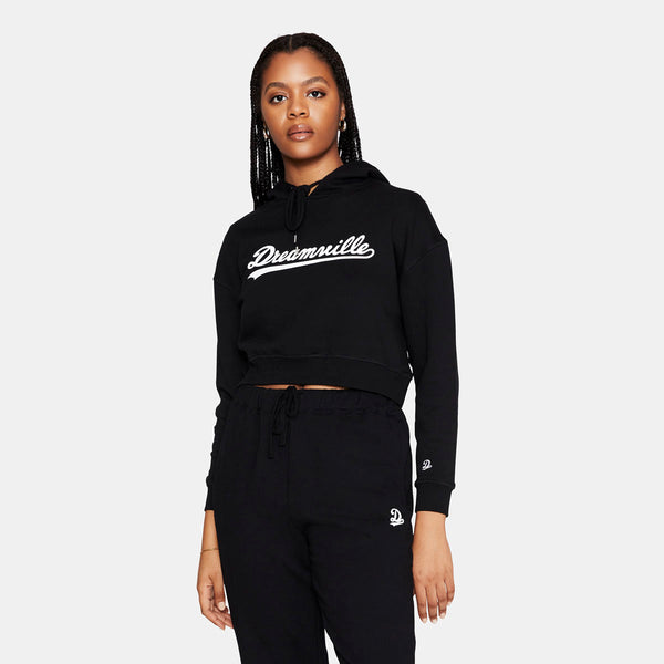 Dreamville Classic Cropped Logo Hoodie Black/White