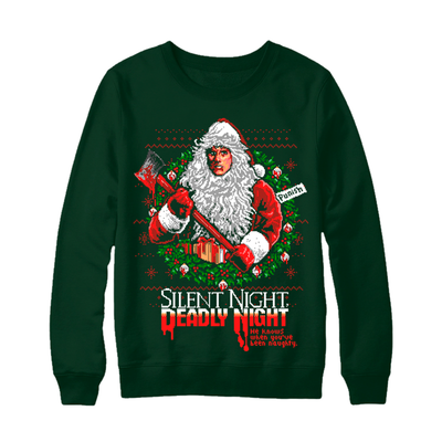 SILENT NIGHT, DEADLY NIGHT - CREWNECK SWEATER (XMAS GREEN)