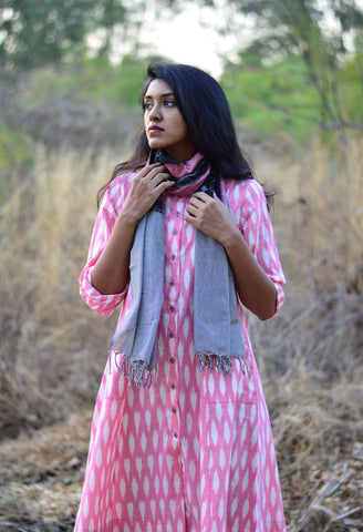 BUTTON DOWN DRESS IN PINK OVAL