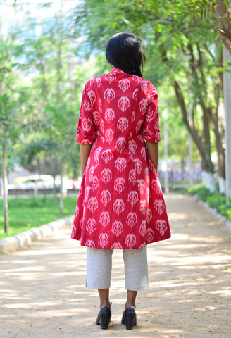 BUTTON DOWN DRESS IN RED FOUNTAIN