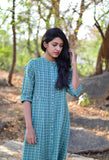 FRONT POCKET KURTA IN GREEN CHECKS