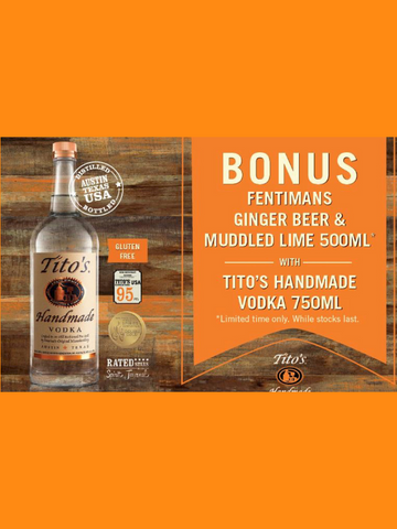 Tito's Handmade Vodka & Fentemans Ginger Beer and Muddled Lime 500ml