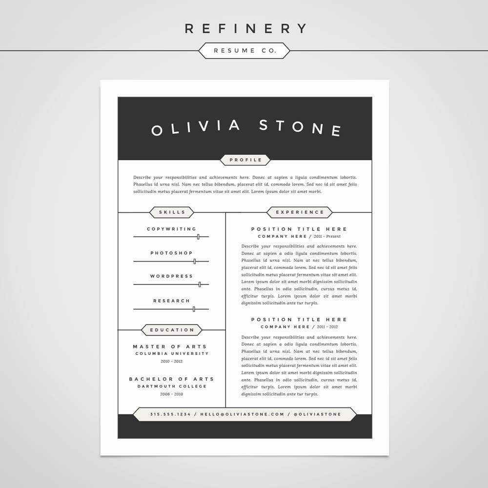 Hipster Resume Template Refinery Co