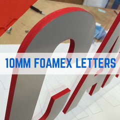Foam PVC, Foamex White or Black Flat Cut Letters 10mm Thick