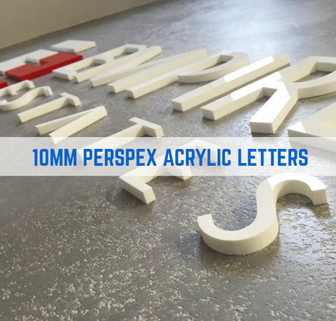 Acrylic Perspex Flat Cut Letters 10mm Thick Option