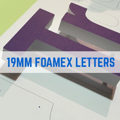 Foam PVC, Foamex White Flat Cut Letters 19mm Thick