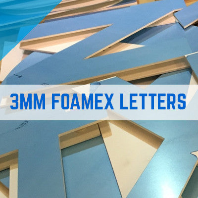 Foam PVC, Foamex Colours Flat Cut Letters 3mm Thick Option