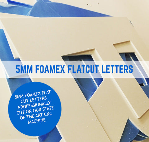 Foam PVC, Foamex Colours Flat Cut Letters 5mm Thick Option