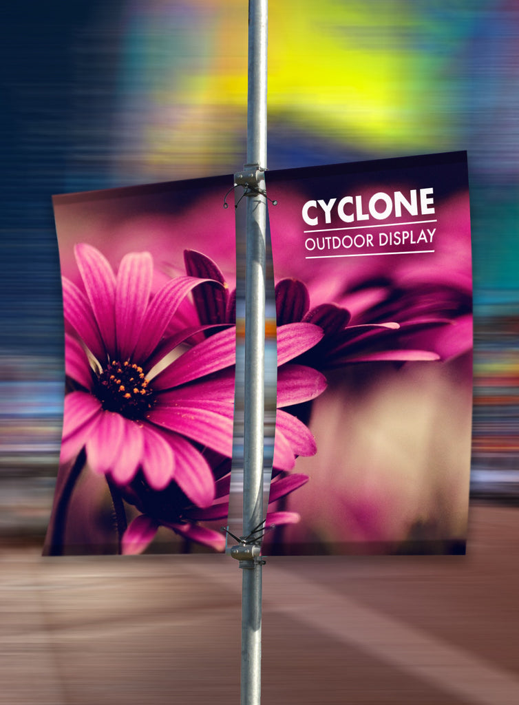 CYCLONE DOUBLE SIDED LAMP POST FLAG BANNERS | LAMP POST ADVERTISING | HIGH STREET ADVERTISING