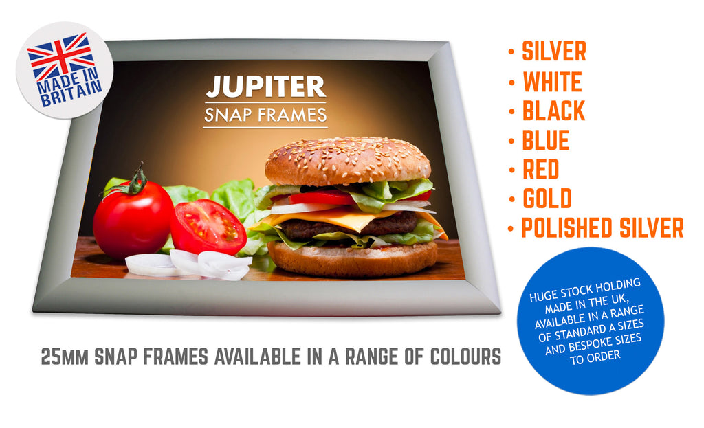 JUPITER POLISHED GOLD 25MM SNAP FRAMES POSTER FRAMES ADVERTISING FRAMES