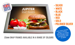 JUPITER SILVER 25MM SNAP FRAMES POSTER FRAMES ADVERTISING FRAMES
