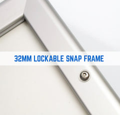 RYKER 32MM LOCKABLE POSTER SNAP FRAME - AVAILABLE IN SILVER & BLACK