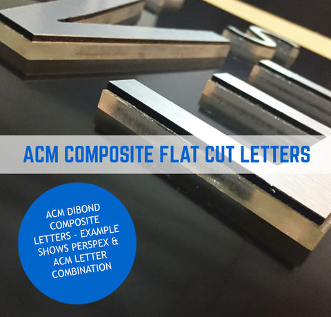 Aluminium Composite Dibond Flat Cut Letters 3mm Thick - Standard Colours