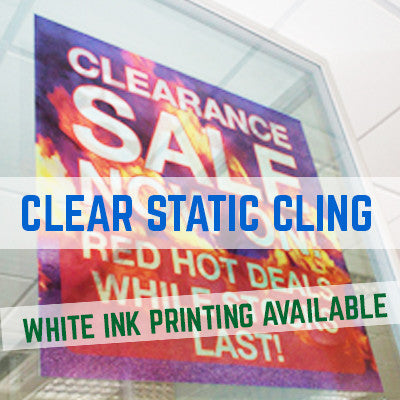 STATIC CLING WINDOW STICKER PRINTING CLEAR