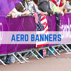 heras fencing, aero banners, fencing banners, crowd control barrier, crowd banners, aero banners, railing banners, marathon banners, crowd barrier branding