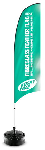 Feather & Tear Drop Flags 100% Fibreglass System | Kushy Face