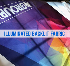 Illuminated backlit fabric printing with silicon edge Kedar graphics