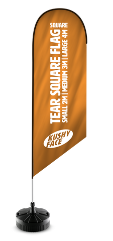Tear Drop Flags Aluminium Pole Style | Kushy Face