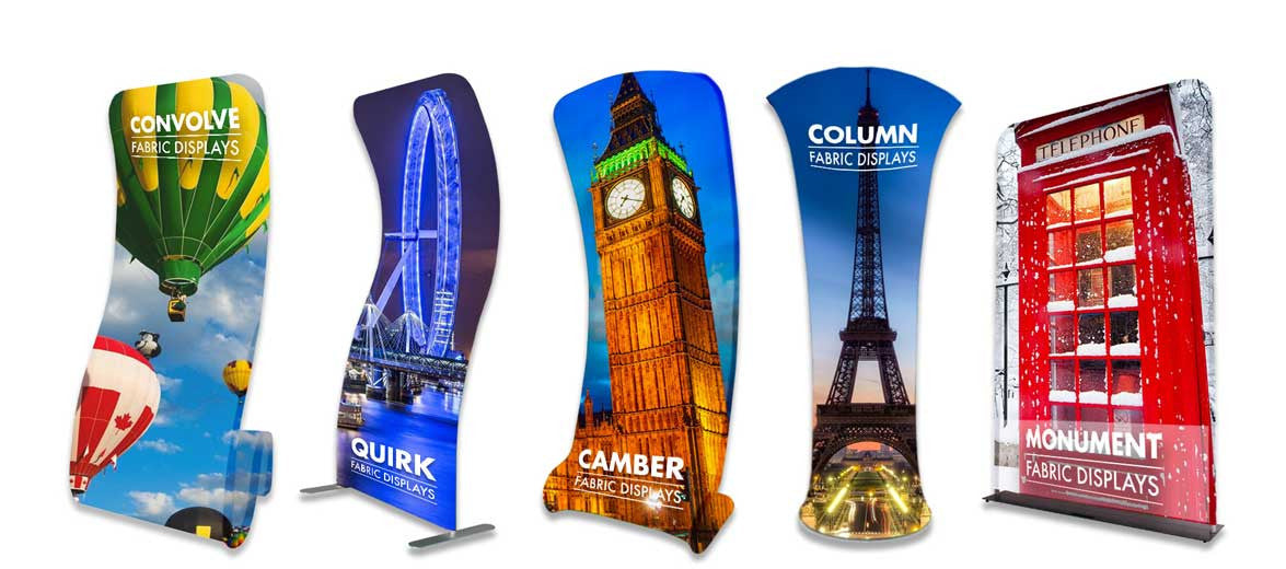 dye sublimation printed fabric textile contemporary display stands