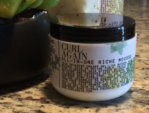 Curl Again Rosemary Mint Citrus Curl Defining Creamy Gel All In One Riche Hair Mousse
