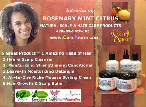 Curl Again Rosemary Mint Citrus Healthy Hair Vegan Paraben Free Cruelty
