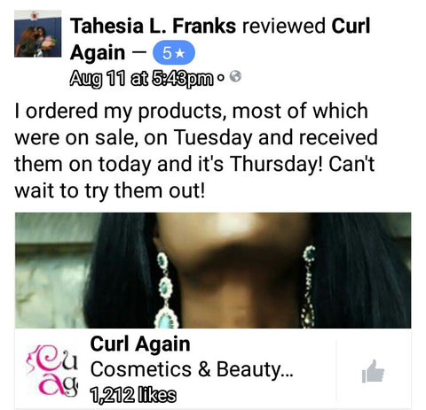 CurlAgain.com Facebook Fans Love Products and Great Service