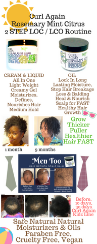 Curl Again Natural Hair and Scalp Cleanser Shampoo Conditioner Hair Growth for African American Black Hair Growth One Month 6 Months Year