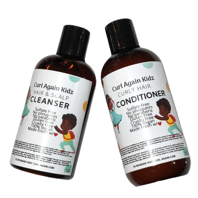 Curl Again Kidz 2 Pc Wash Day Hair & Scalp Cleanser & Conditioner - Curl Again