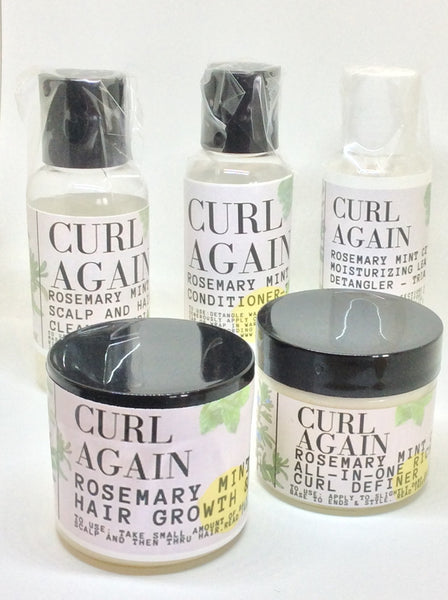 Curl Again Rosemary Mint Citrus Natural Hair Growth Scalp Care Maintance Set for African American Black Afro Textured Hair Types