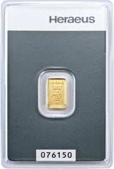 Heraeus 1 Gram Gold Bullion Bar - Northwest Bullion - 2