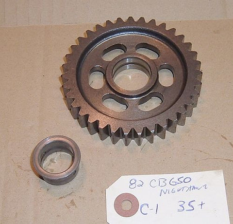 1982 Honda CB650 Nighthawk TRANSMISSION COUNTER SHAFT GEAR C-1 35 tooth