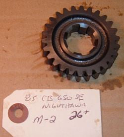 1985 Honda CB650 Nighthawk MAIN SHAFT TRANSMISSION GEAR M-2 26 TOOTH