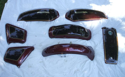 1976 Honda GL1000 Goldwing Complete Body Set Complete Side Cover Right Left, Tank Shelter Facade, Front fender Rear Fender.  1975 1976 1977 1978