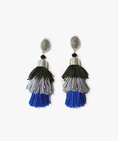 Ame Layered Tassels Earrings (Blue)