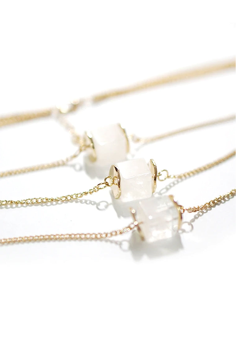 Andes Clear Stone Layered Necklace