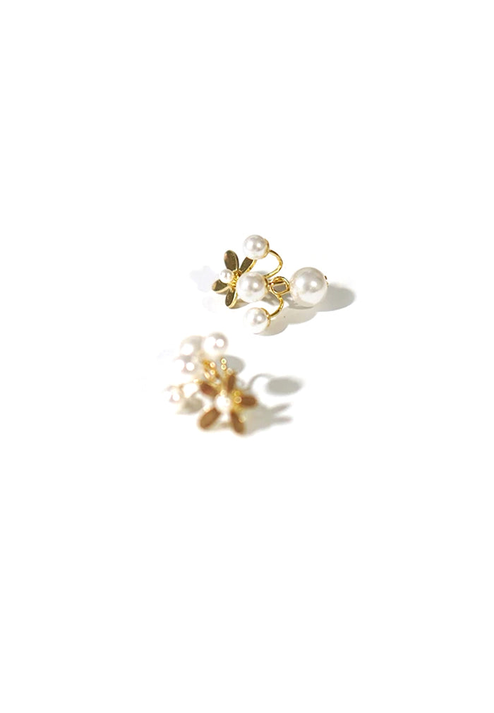 Bea Flower and Faux Pearl Ear Huggies