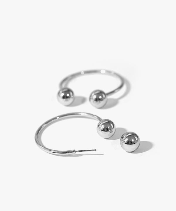 Cassidy Ball-back Closure Earrings (Silver)