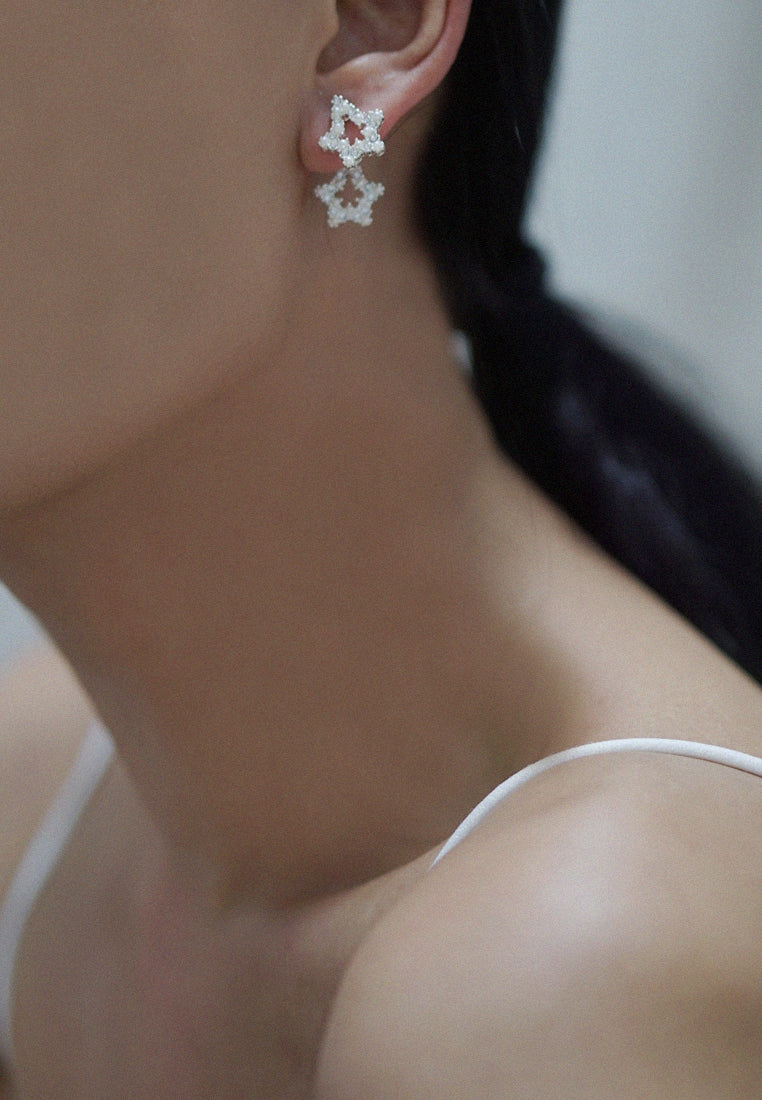 Eriah Double Star with Faux Pearls and Rhinestones Earrings