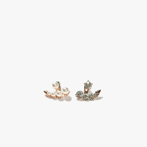 Edna Pearl & Crystal Earring Set (Rosegold)